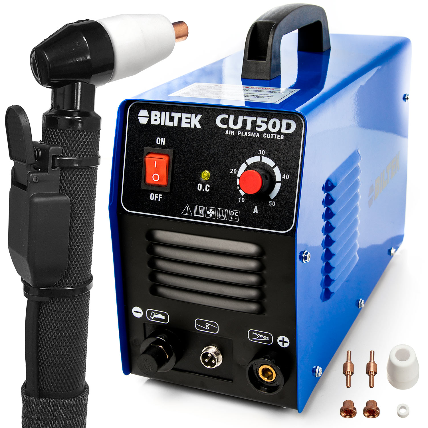 "Biltek 50Amp Air Plasma Cutter, 1/2"" Inch Cut 110V/220V Input CUT50D DC Inverter Dual Voltage with Pre-Installed 110V US Plug, Portable & Easy Quick Setup Metal Cutter"