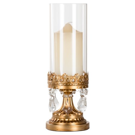 Amalfi Décor 12.75 Inch Crystal-Draped Antique Glass Hurricane Candle Holder (Gold) | Stainless Steel Frame with Glass Crystals