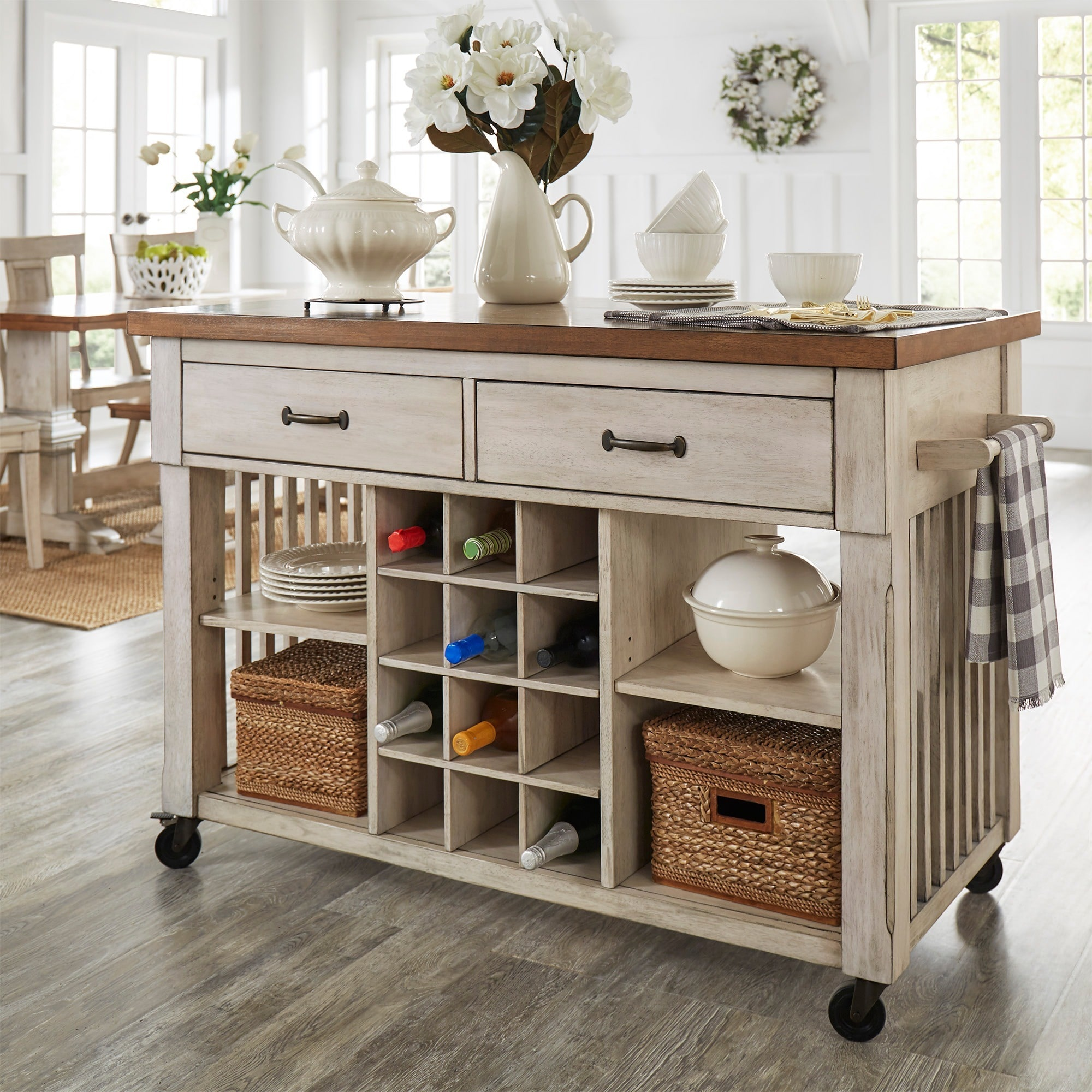 iNSPIRE Q Eleanor Two-Tone Rolling Kitcn Island with Wine...