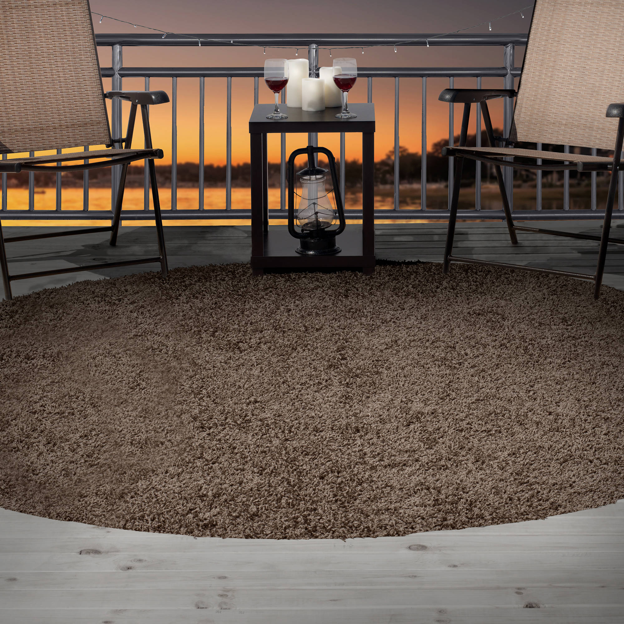 Somerset Home Outdoor/Indoor Shag Rug, 8' Round