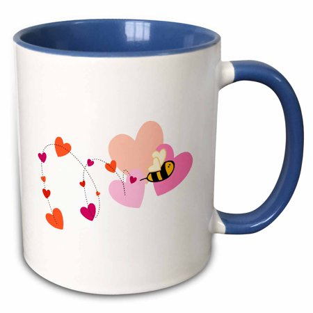 3dRose Adorable Valentine Bumble Bee With Hearts - Two Tone Blue Mug, 11-ounce (Bee Valentine)