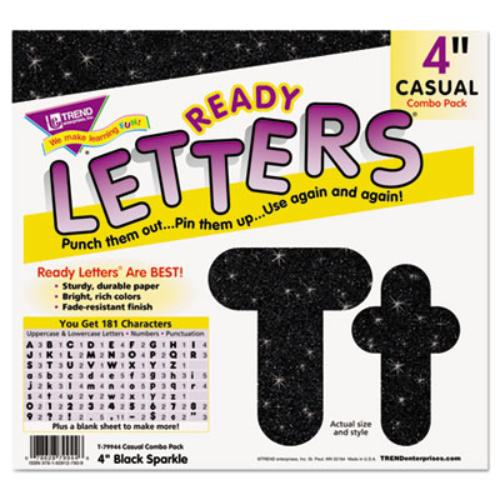 "Trend Sparkle 4"" Casual Ready Letters Combo Pack - Learning Theme/subject - 50 Uppercase Letters, 82 Lowercase Letters, 20 Numbers, 30 Punctuation Marks - Sparkle - Reusable, Easy To Use, (t79944)"