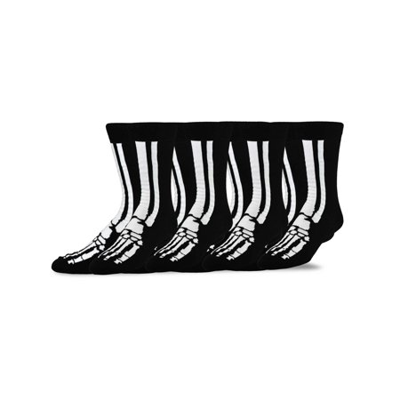 TeeHee Novelty Young Men Halloween Fun Crew Socks 4-Pack (Only The Young Halloween Performance)