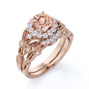 1.50 Carat Round Cut Morganite and Diamond Halo Bridal Ring Set in Solid 10K Rose Gold