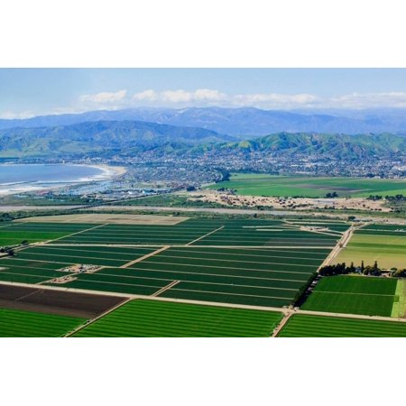 Aerial view of Oxnard farm fields in spring with Ventura City and Pacific Ocean in background, V... Print Wall Art