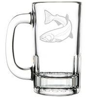12oz Beer Mug Stein Glass Fishing Trout