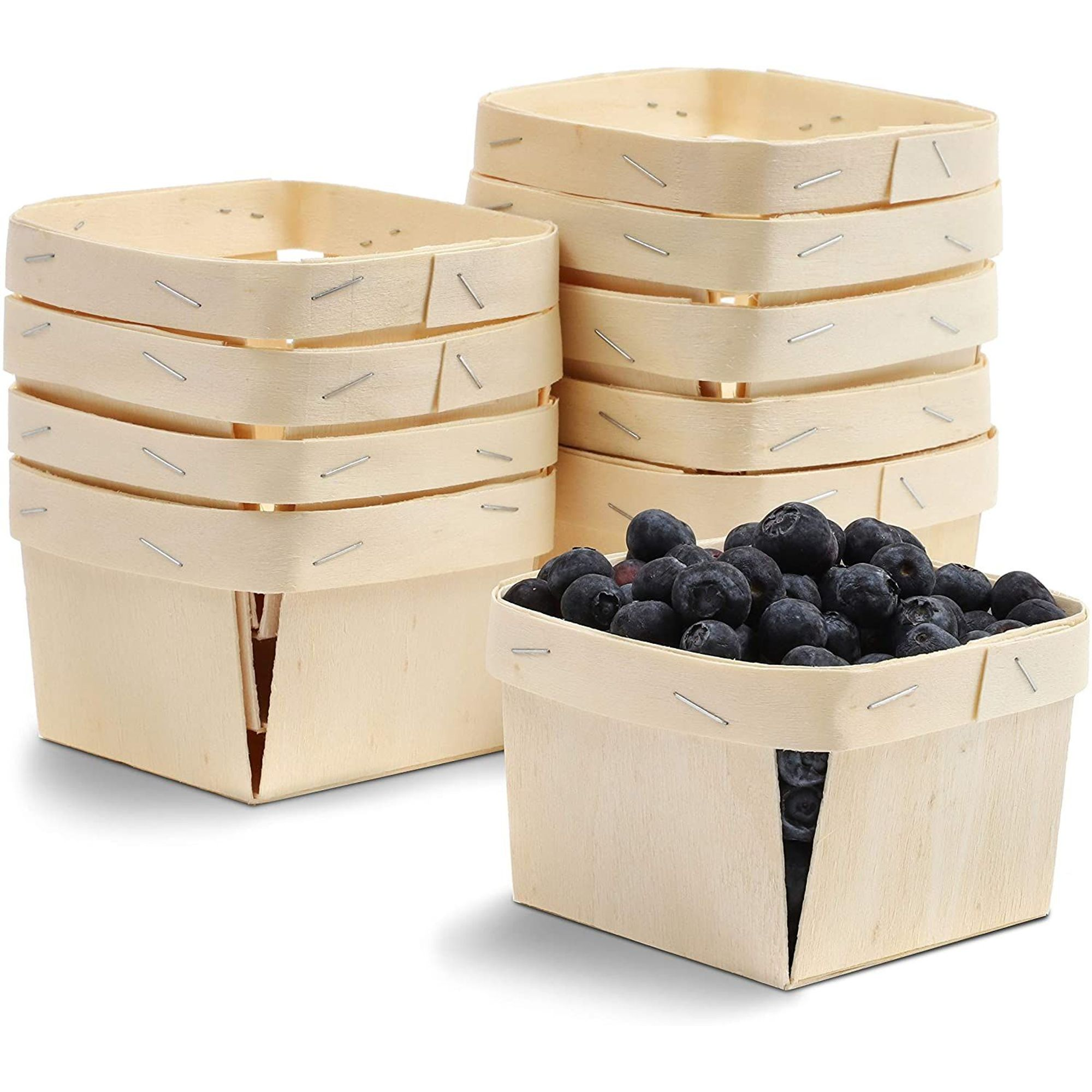 4 Inches, 10-Pack One Pint Wooden Berry Baskets
