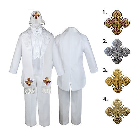 5-7pc White Baby Kid Boy Christening Paisley Tail Tuxedo Suits Cross Hat Stole - Christening Hat