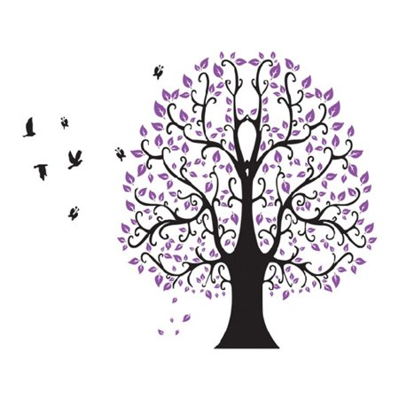 Unique Bargains Household Bedroom Tree Pattern Removable Wall Sticker Decal Wallpaper](Halloween Themed Anime Wallpaper)