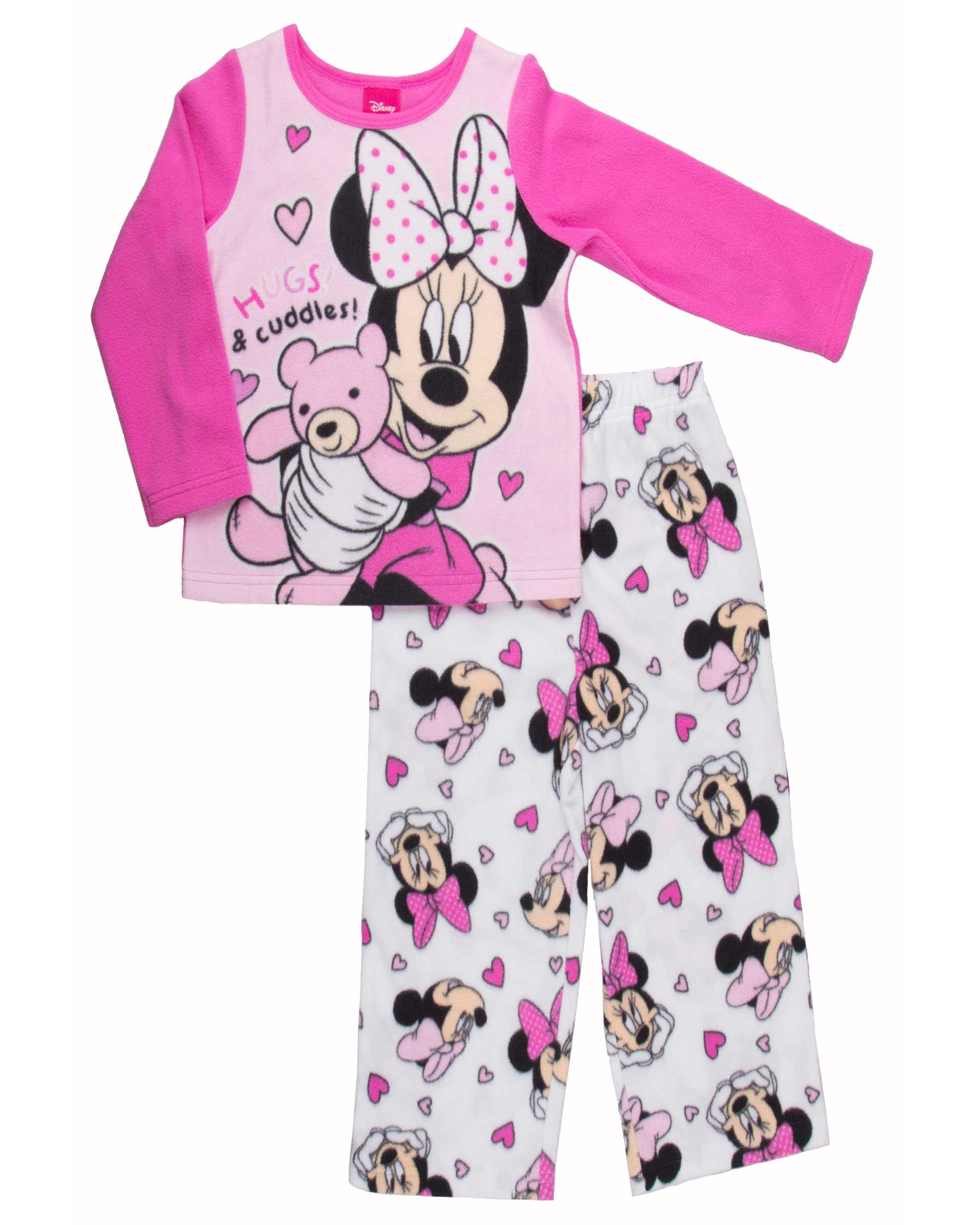 Disney Authentic Mickey /& Minnie Mouse Long Sleeve Pajamas Girls Size 2 3 5 PJ/'s