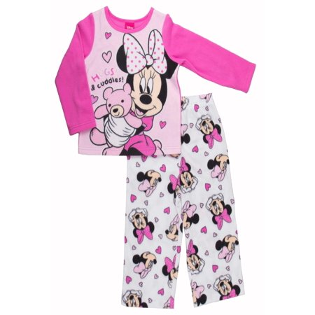 Disney Girls' Minnie Mouse/2-Piece Fleece Pajama Set, Pink, Size: 2T