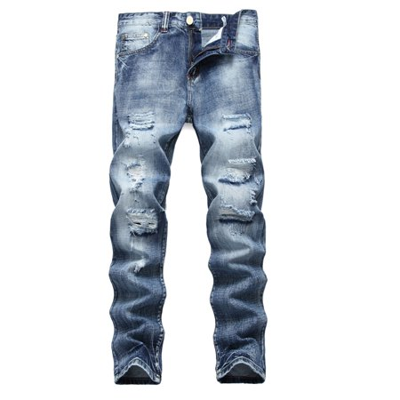 - Men Plus Size Straight Jeans Male Distressed Denim Pants Biker Jeans Ro Designer Bin Jeans for Men Religious Outfits