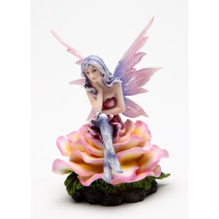 4.5 Inch Pink Ice Flower Fairy Sitting on a Rose Statue Figurine