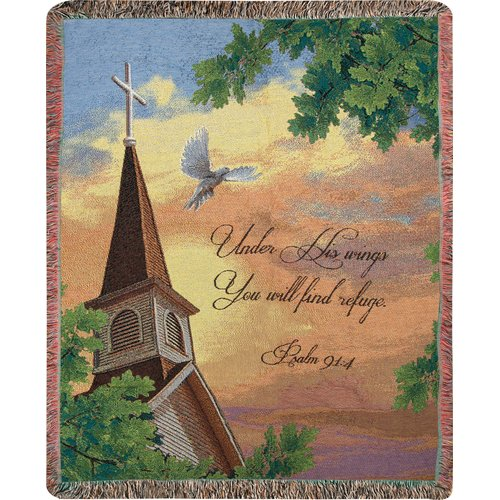 Manual Woodworkers & Weavers Under His Wings You Will Find Refuge Tapestry Cotton Throw