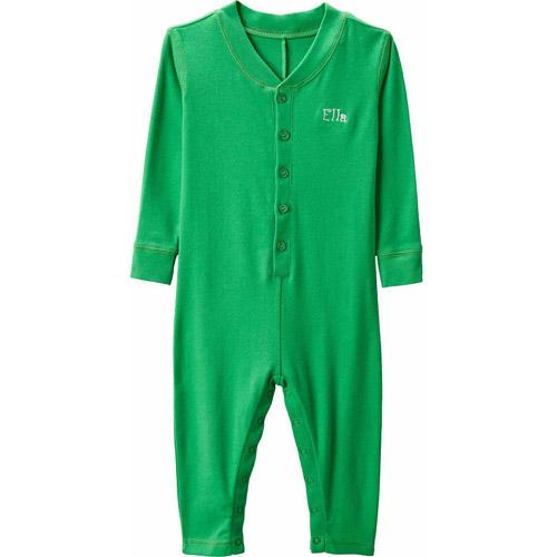 Personalized Ruffle Infant Long John, Green