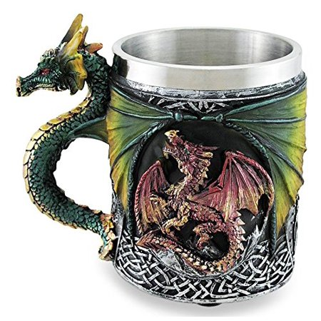 Mythical Fantasy The Conception Of Fire Beowulf Dragon Beer Stein Tankard Coffee Cup Mug Great Gift For Dragon Lovers Party Hosting Centerpiece Fantasy Movie Drink Companion (Neon Colored Centerpieces)