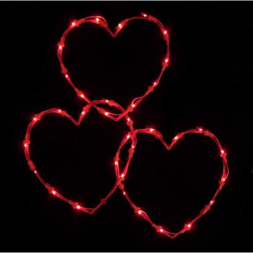 Set of 3 Red Lighted Valentine's Day Twinkling Heart Icicle Lights - Red Wire