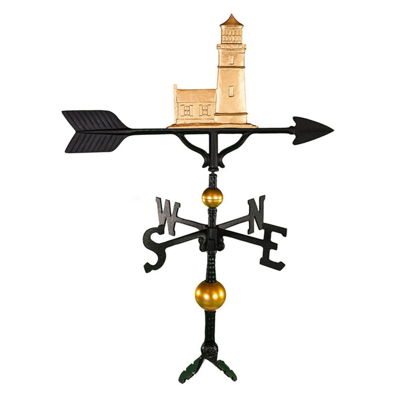 Deluxe Gold Cottage Lighthouse Weathervane 32 in. by Montague Metal Products
