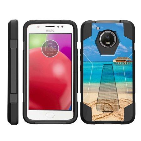 TurtleArmor ® | For Motorola Moto E4 Plus | Motorola Moto E 4th Generation Plus (2017) [Dynamic Shell] Dual Layer Hybrid Silicone Hard Shell Kickstand Case - Paradise Island (Motorola Shells Moto E)
