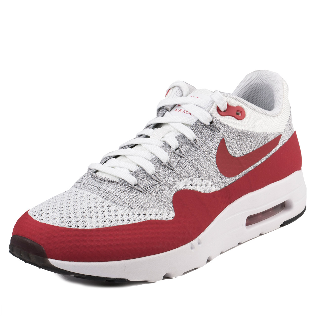 Nike Mens Air Max 1 Ultra Flyknit White/University Red 843384-101