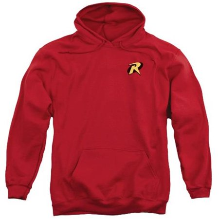 Batman-Robin Logo - Adult Pull-Over Hoodie - Red, 3X