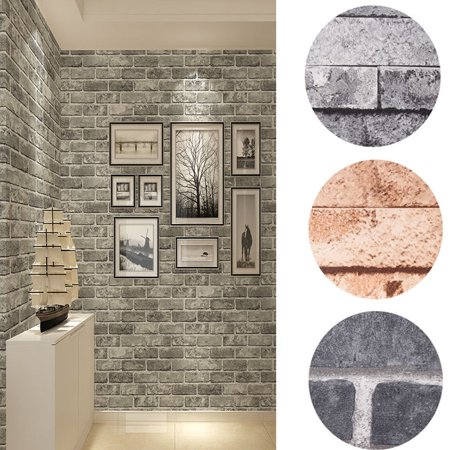 Vintage 3D Wallpaper, Estink Wall Decor Brick Stone Textured Wallpaper Roll for Livingroom Bedroom (10M, Grey) - Live Halloween Wallpaper For Pc