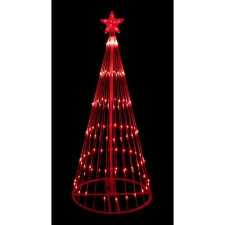 6' Red LED Light Show Cone Christmas Tree Lighted Yard Art D