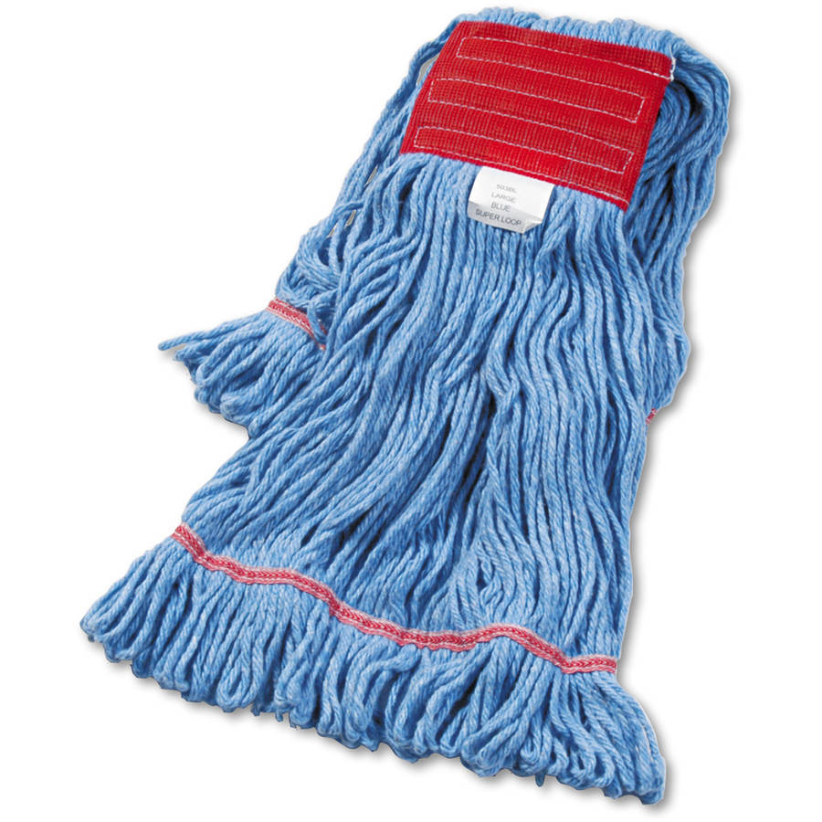 Boardwalk Blue Large Cotton/Synthetic Super Loop Wet Mop Head, 12 count