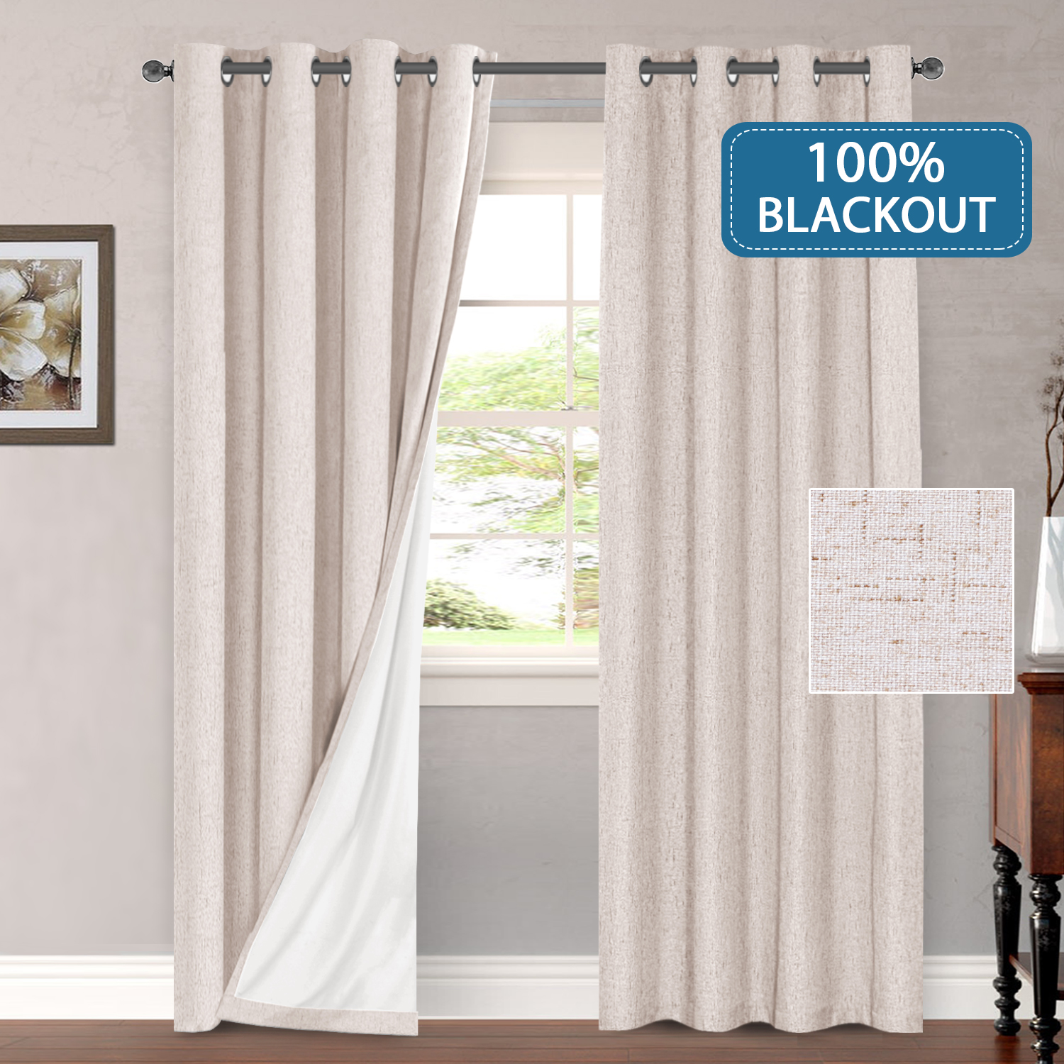 Outdoor Curtains 100 Blackout Draperies For Patio Waterproof Linen Look Blackout Curtains For Bedroom Extra Long 108 Inches Grommets Window Curtain Panels Natural Color 2 Panels Walmart Com Walmart Com