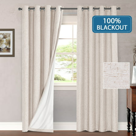 100 Blackout Thermal Curtains For Bedroom Energy Efficient Lined D Living Room Window Treatment Set 52 X 96 Inches Curtain Panel Grommet