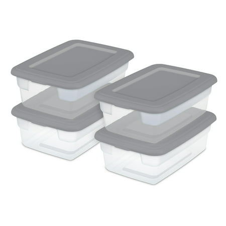 Sterilite Set of (4) 12 Qt. Storage Boxes Titanium