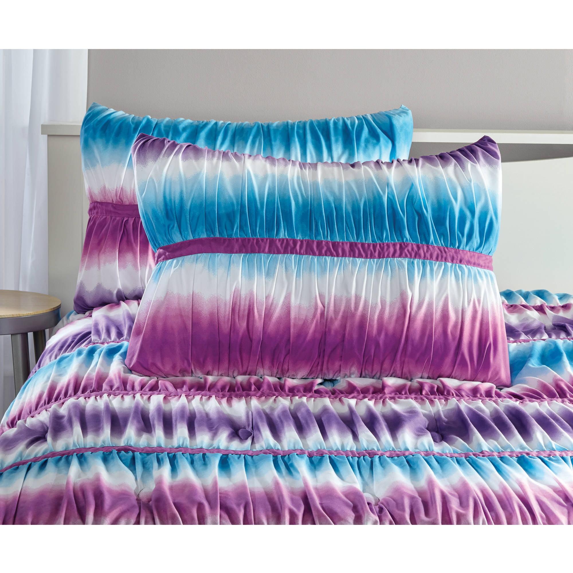 Purple And Blue Tie Dye Teen Bed Room Comforter Set Girls