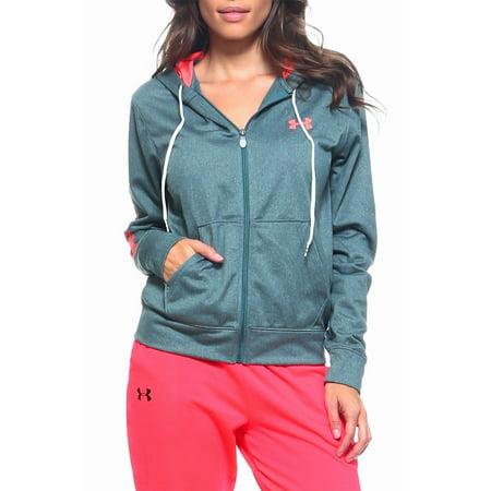 Womens Under Armor Authentic Brand Active Fleece Track Full Zip Jacket UA-JKL-M-Hunter Green Dark Green Jacket Fleece