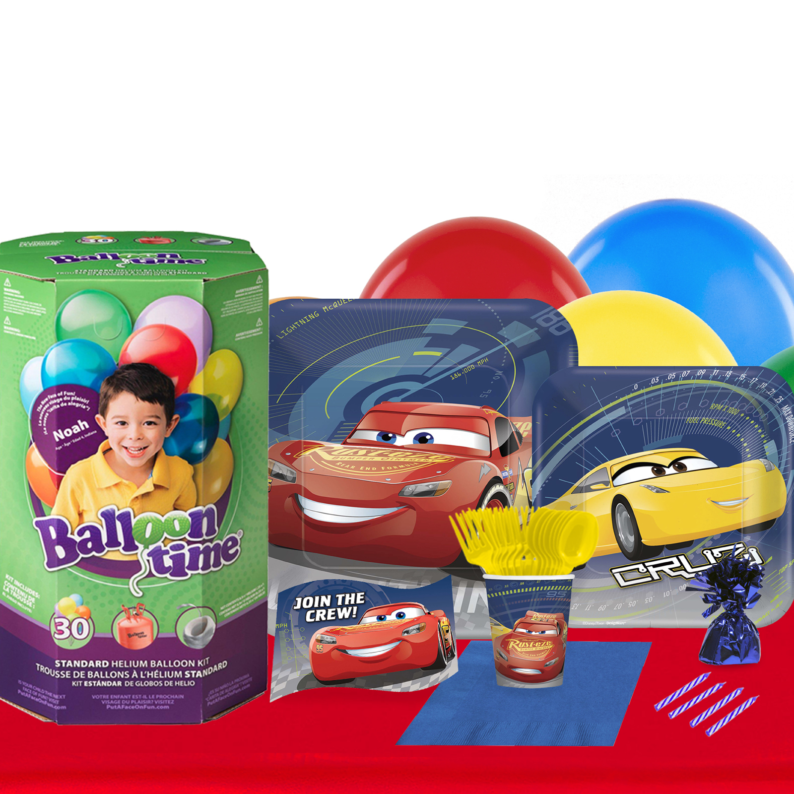 Disney Cars 3 16 Guest Party Pack - Tableware and Helium Tank