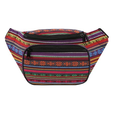 HDE Boho Fanny Pack Aztec Striped Waist Pack Tribal Bum Bag for Men and Women (Multi Color)