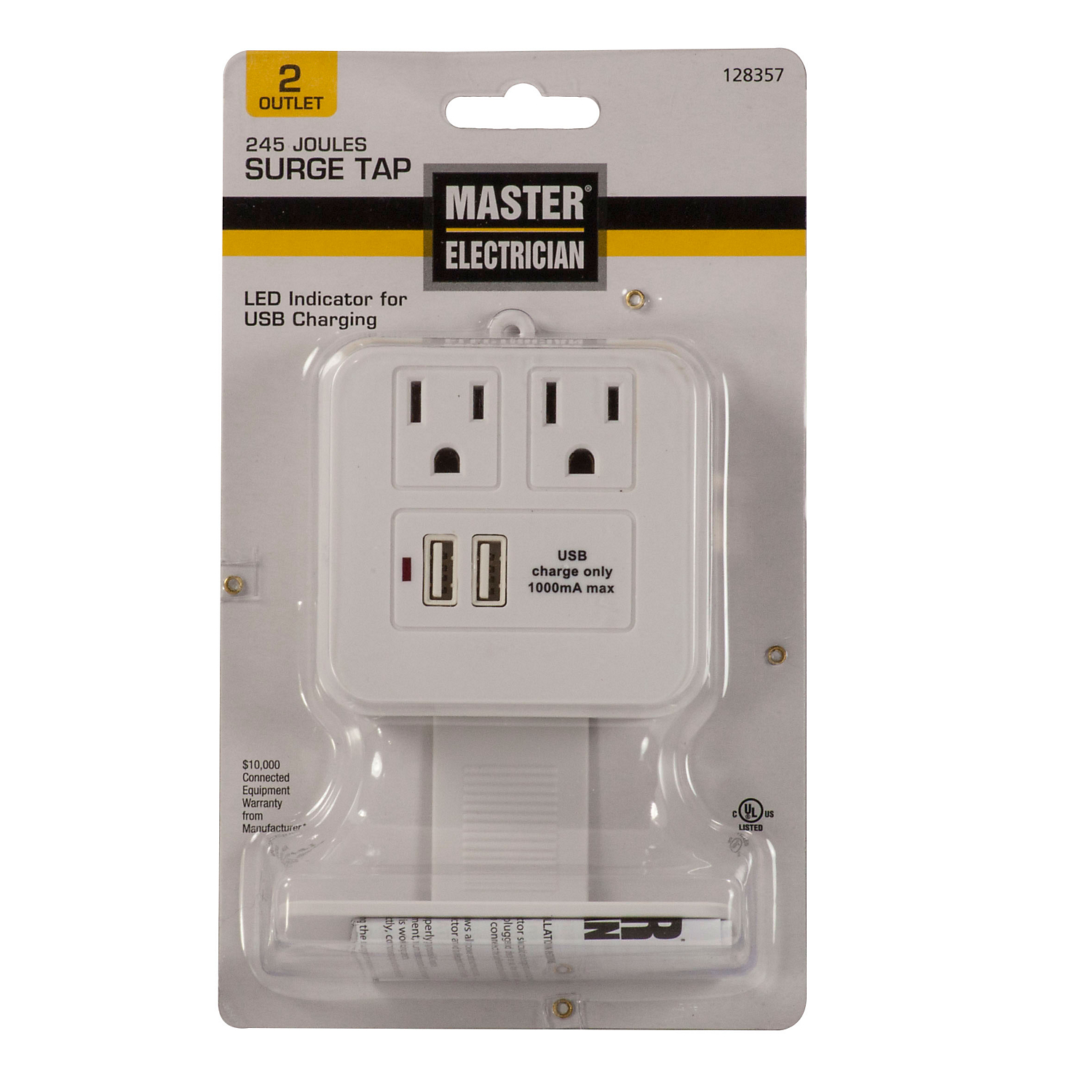 Hyper Tough 2 Outlet Surge Tap With USB White