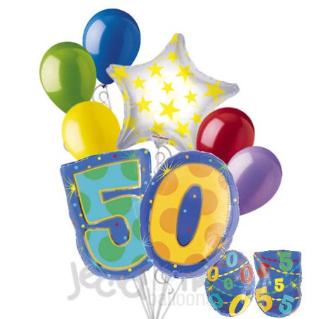 8 pc 50th Birthday Theme Balloon Bouquet Party Decoration Number Primary Color](Decade Theme)