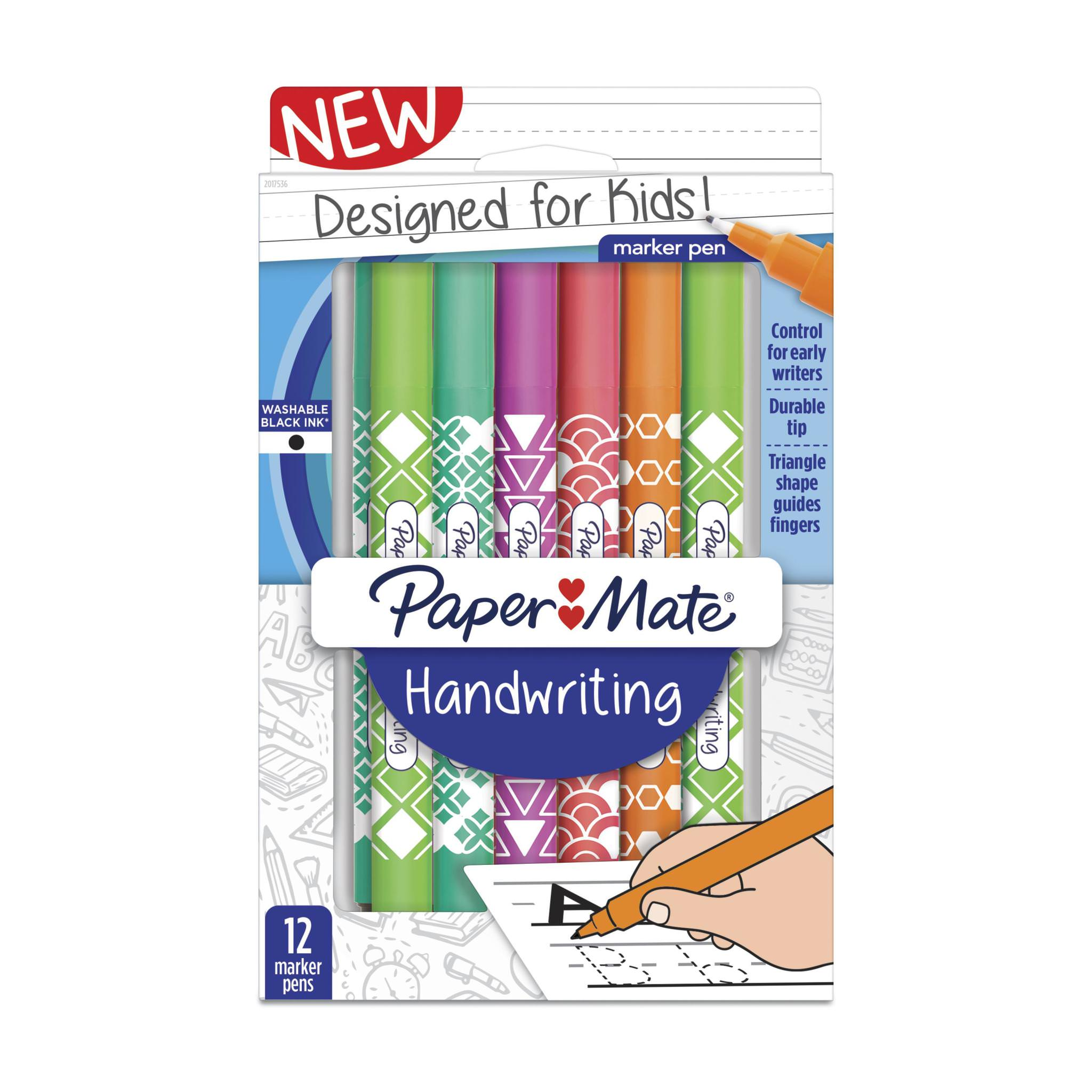 Paper Mate Handwriting Triangular Pens, Washable Black Ink, Fashion Wraps, 12 Count