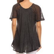 b9811bca15f3b Sakkas Ellie Sequin Embroidered Cap Sleeve Scoop Neck Relaxed Fit Blouse -  Charcoal - One Size