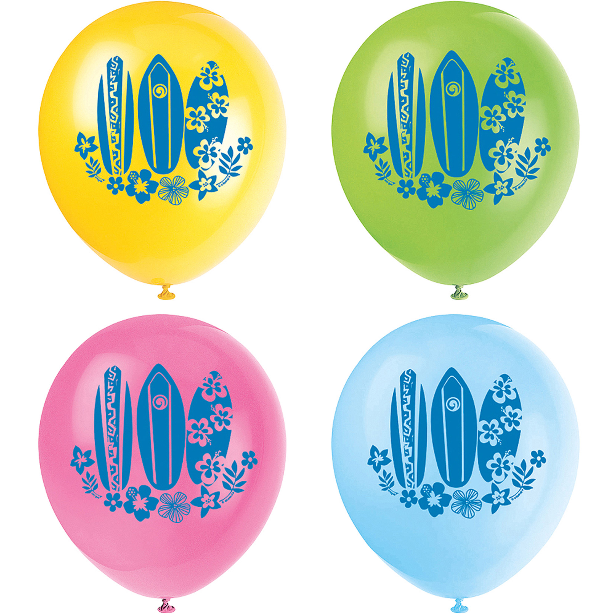 "12"" Latex Hula Girl Luau Party Balloons, 8-Count"