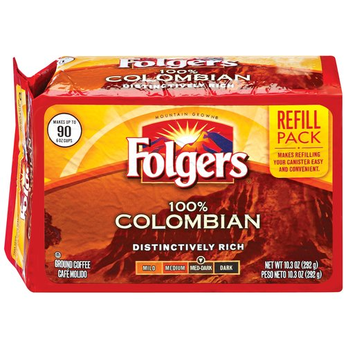 Folgers 100% Colombian Medium-Dark Ground Coffee Refill Pack, 10.3 oz