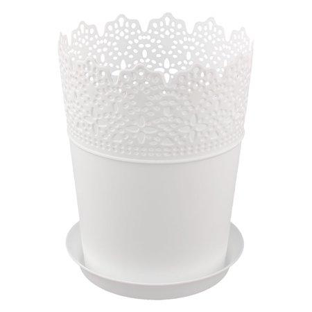 16cm height white plastic lace plant planter flower pot home garden 16cm height white plastic lace plant planter flower pot home garden decor w tray mightylinksfo