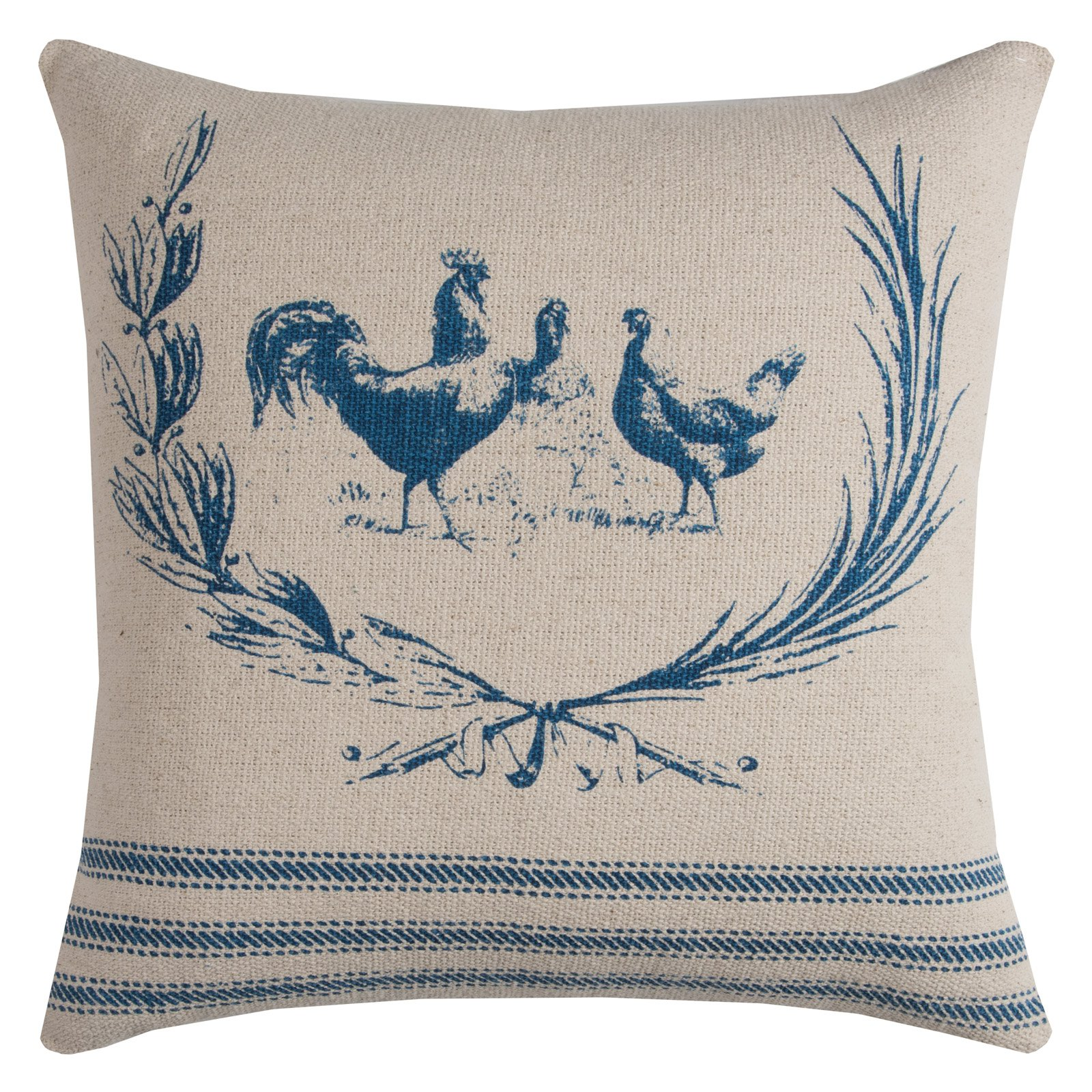 """Rizzy Home Farmhouse Rooster Cotton With Zipper Closer Decorative Throw Pillow, 20"""" x 20"""", Red"""