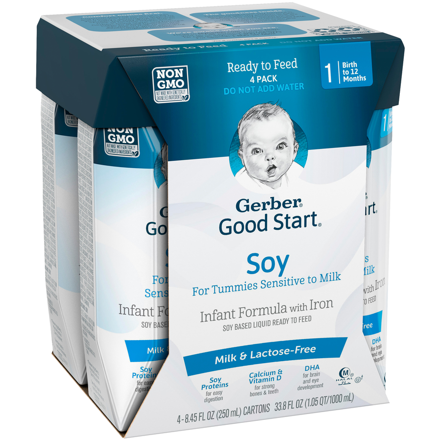 Gerber Good Start Soy Non-GMO Ready to Feed Infant Formula, Stage 1, 8.45 fl oz (Pack of 4)