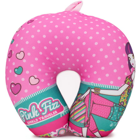 Pink Fizz Polka and Hearts Microbeads travel pillow - Supportive Comfort
