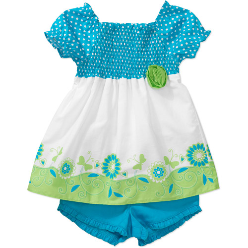 Healthtex Baby Girls' 2-Piece Smocked Top and Shorts Set