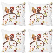 Christmas Throw Pillow Cushion Case Pack of 4, Owls on Celebrating Twiggy Tree Branches Annual Yule Noel Christmas Themed Print, Modern Accent Double-Sided Print, 4 Sizes, Multicolor, by Ambesonne