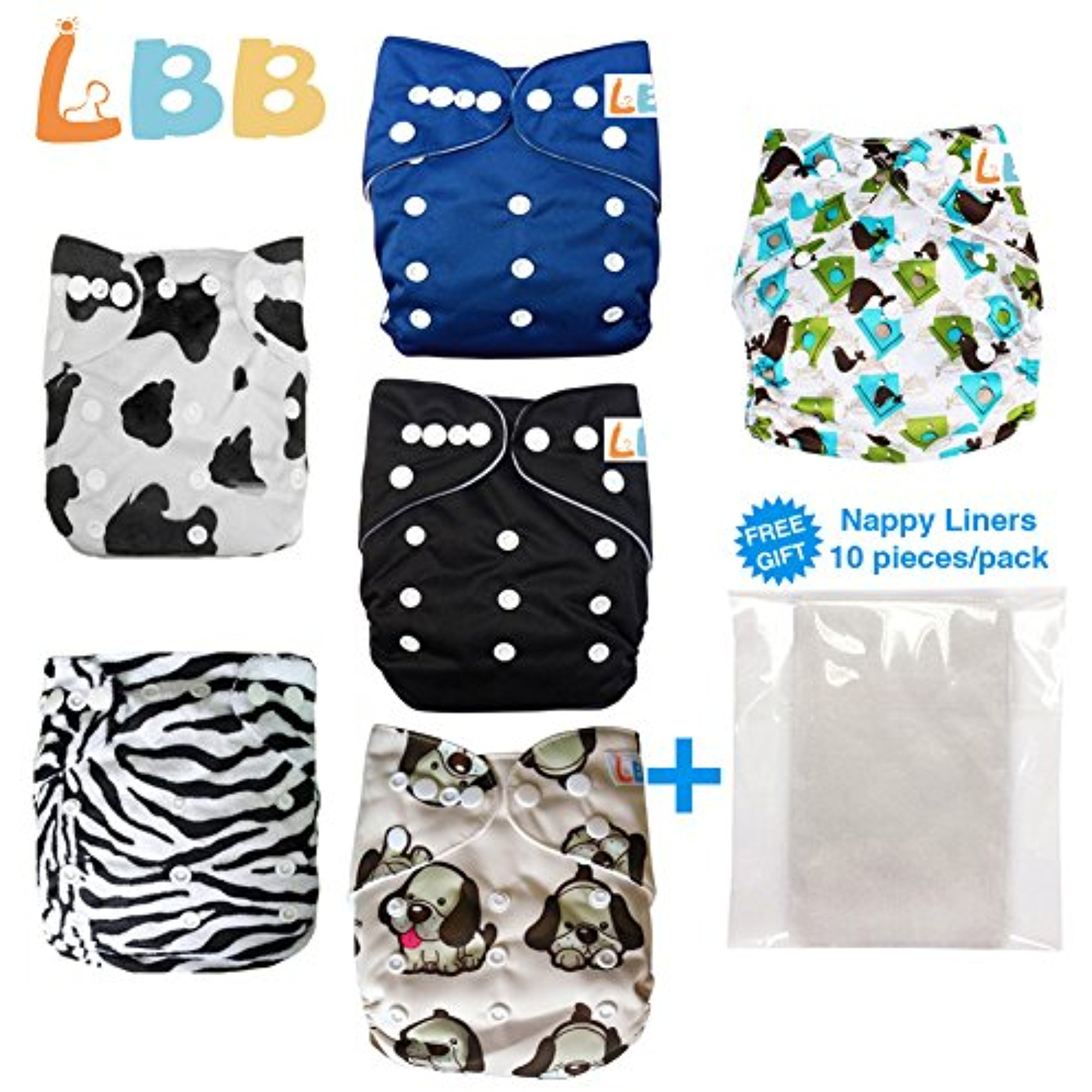 LBB Baby Cloth Diapers With Double Rows of Adjustable Snaps,  Pocket Diapers, 6pcs Pack(Cow)