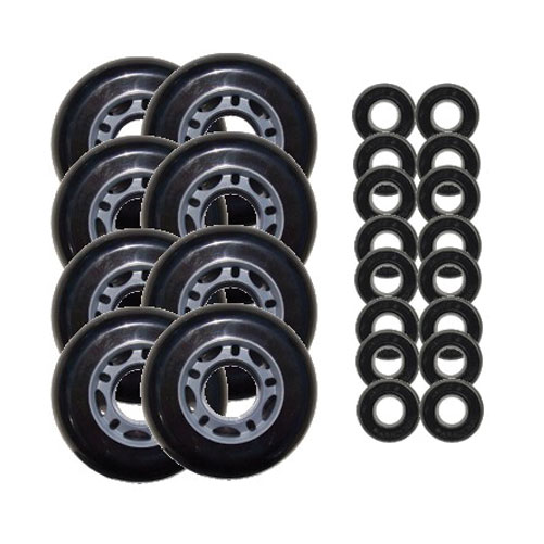 Black 68mm 82A Inline OUTDOOR Skate Wheels + ABEC 5'S