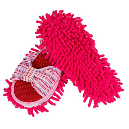 LEMNUY Dust Mop Slippers for Women, Microfiber Chenille Woman Shoes Covers Washable, House Kitchen Hardwood Floor Multi Surface Polishing Cleaning Dirt and Hair, Pink, Large Size 8.0-11.0, 1 Pair